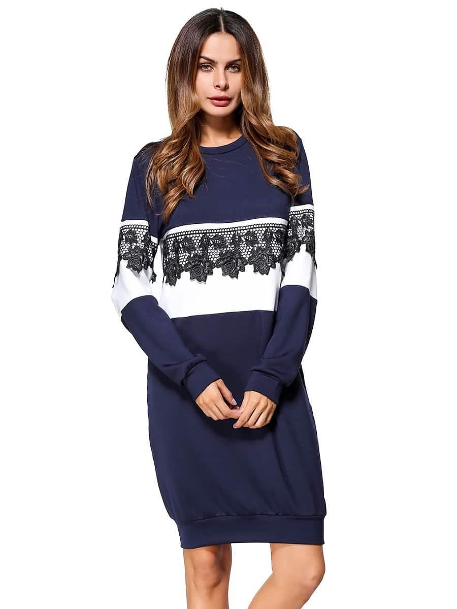 Color Block Rose Embroidered Applique Sweatshirt Dress embroidered rose applique side split belt dress