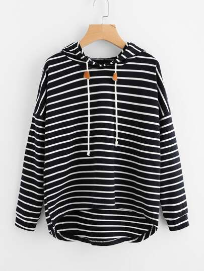 Striped Drop Shoulder High Low Hoodie