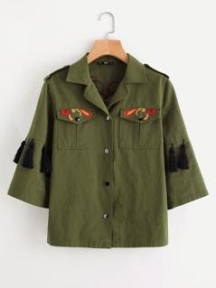 Knot Tassel Trim Embroidered Utility Jacket