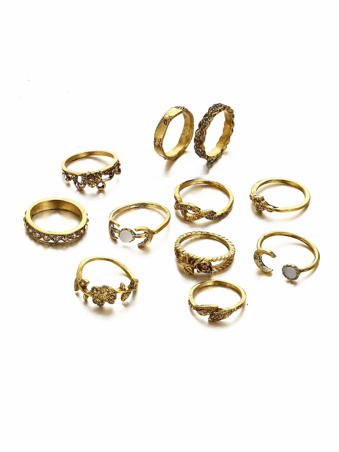 Ring Set 11pcs mit Strass Rose und Blatt Design