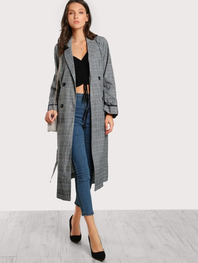 Plaid Floor Length Trench Coat NAVY
