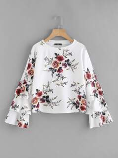 Flower Print Layered Fluted Sleeve Top