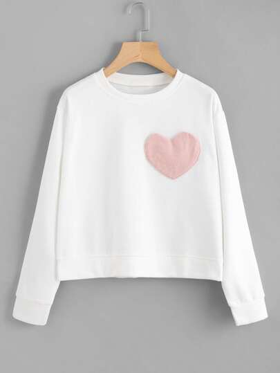 Heart Patch Detail Sweatshirt