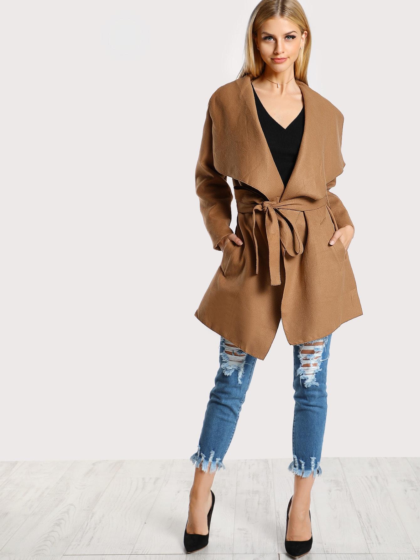 Draped Soft Knit Trench Coat draped collar sleeveless coat
