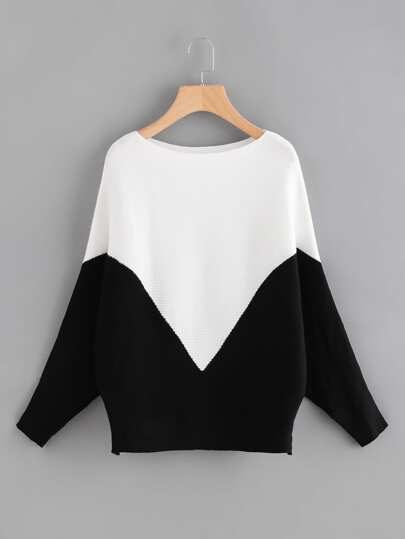 Two Tone Ribbed Batwing Jumper