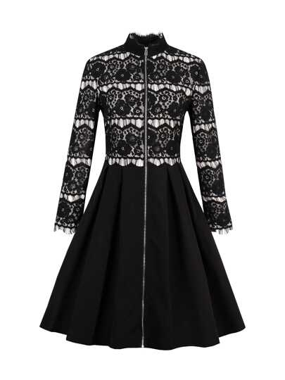 Eyelash Lace Panel Zip Up Flare Dress