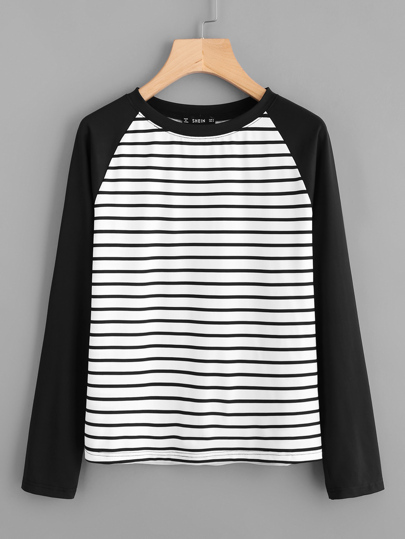 Contrast Raglan Sleeve Striped Tee