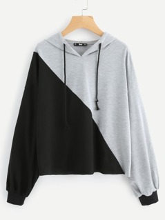 Two Tone Heather Knit Hoodie