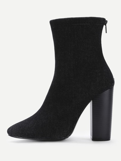 Pointed Toe Denim Block Heeled Boots