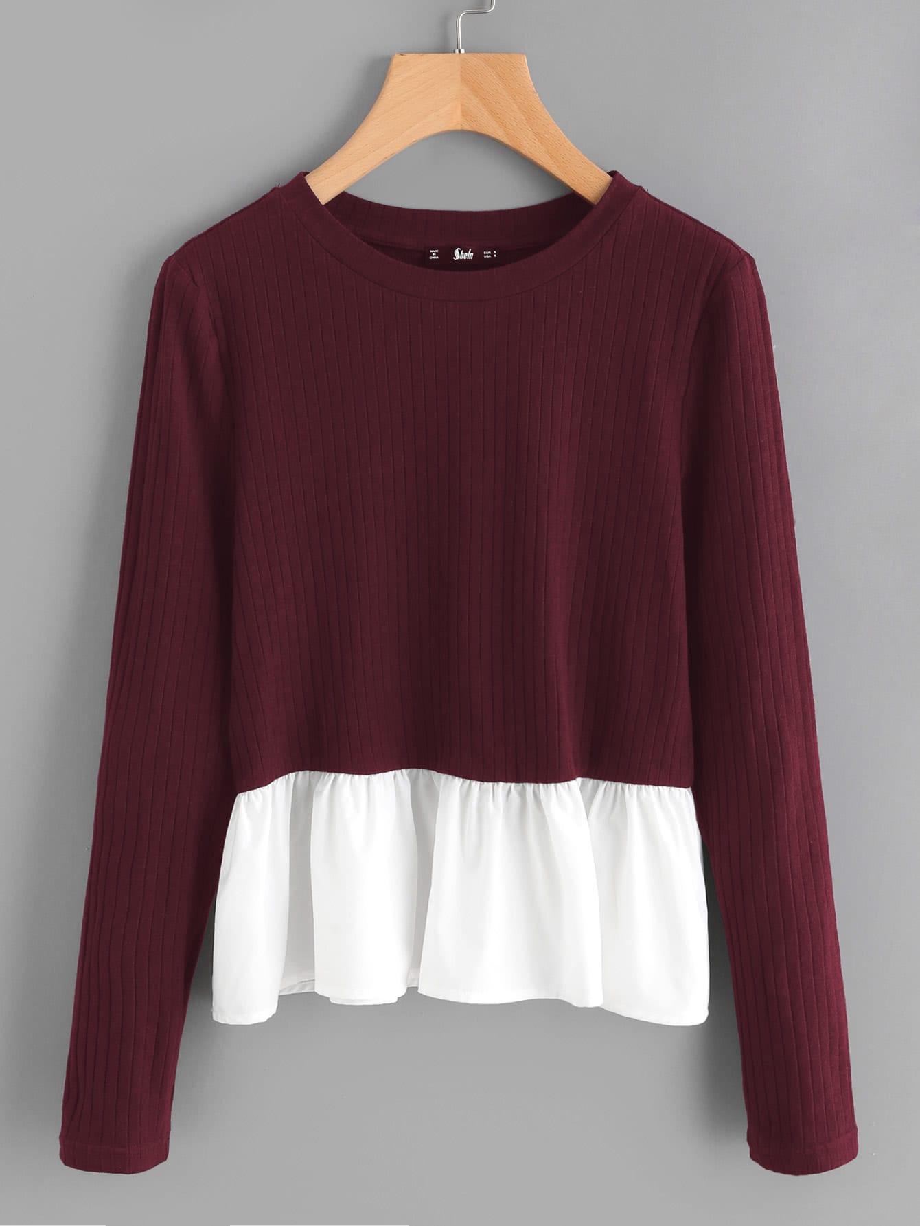 Contrast Frill Trim Rib Knit T-shirt rib knit tights