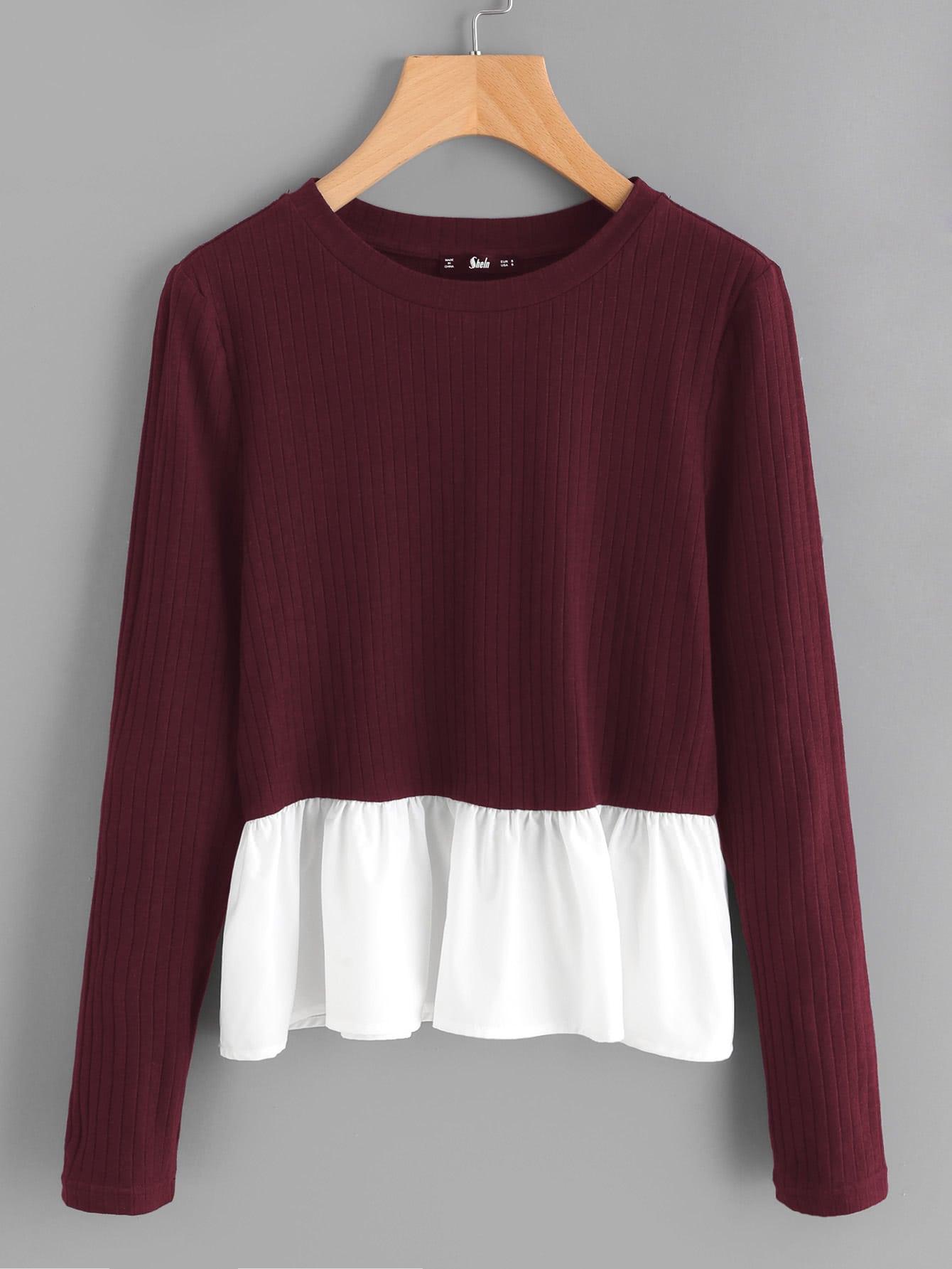 Contrast Frill Trim Rib Knit T-shirt tee170906705