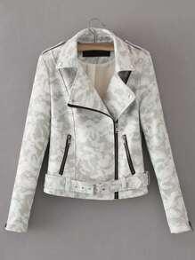 PU Camo Jacke mit Reißverschluss und Gürtel