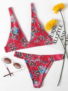 Flower Print Plunge Bikini Set
