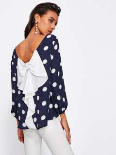 Bow Back Polka Dot Blouse