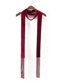 Samt Skinny Schal mit Franse