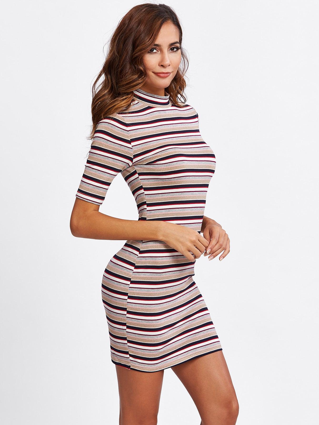 Striped Form Fitting Tee Dress дождеватель truper t 10363
