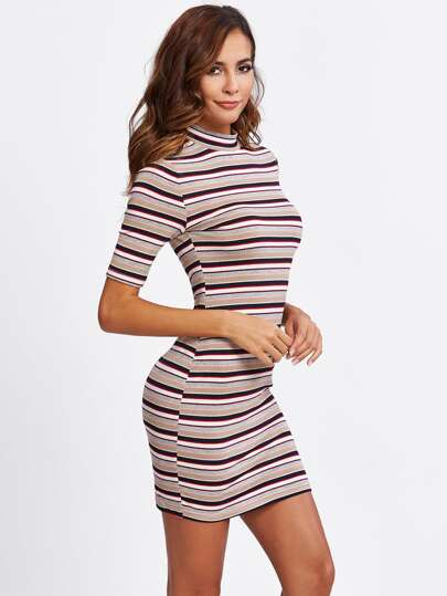 Striped Form Fitting Tee Dress