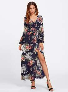 Tropical Print Surplice Wrap Dress