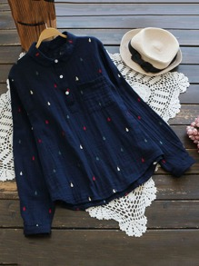 Colorful Water Drop Embroidered Crinkle Blouse
