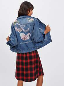 Rose Embroidered Ripped Denim Jacket