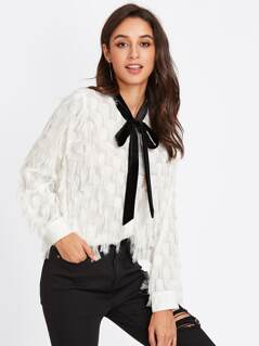 Contrast Tied Neck Allover Fringe Top