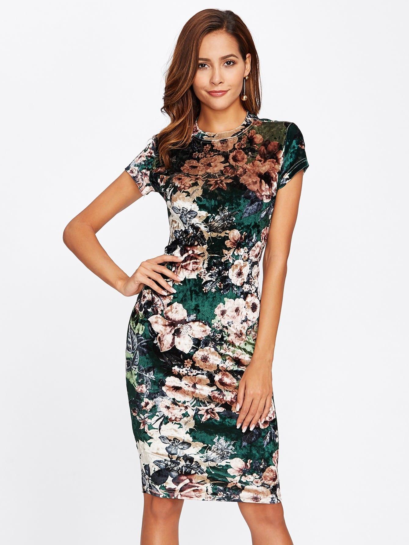 Купить Модное бархатное платье с цветочным принтом, Giulia, SheIn