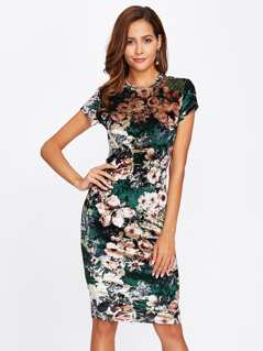 Form Fitting Floral Velvet Dress