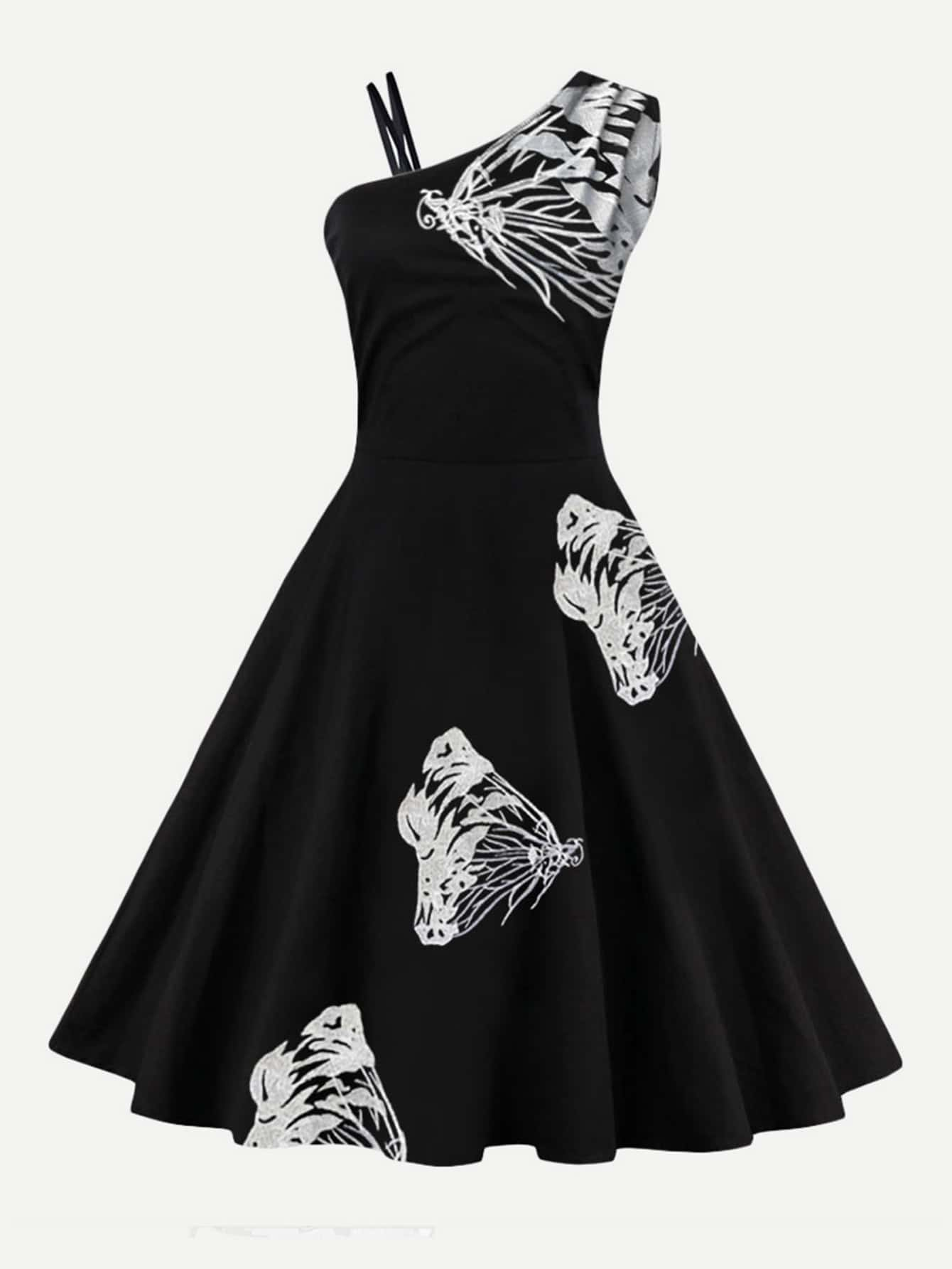 Butterfly embroidered circle dress shein sheinside