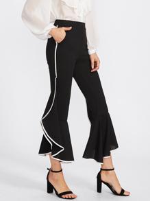 Pantalones fruncido de ribete en contraste