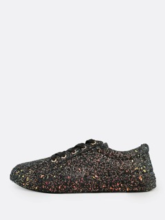 Glitter Lace Up Sneakers BLACK