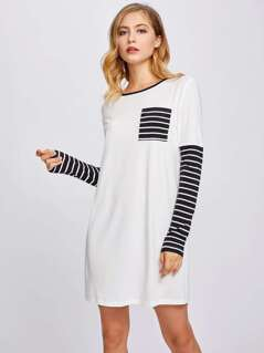 Stripe Pocket Front Ringer Tee Dress