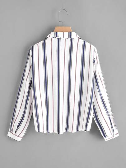 SheIn / Pleated Gathered Front Dip Hem Striped Shirt