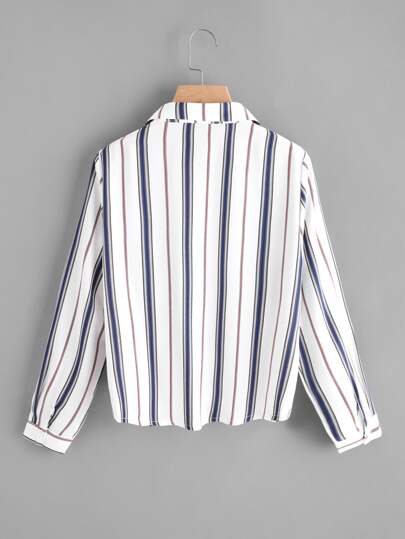 Romwe / Pleated Gathered Front Dip Hem Striped Shirt