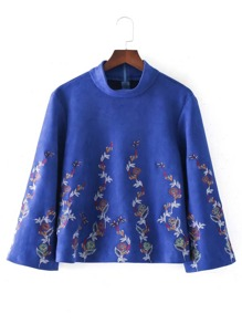 Embroidered Flower Mock Neck Top