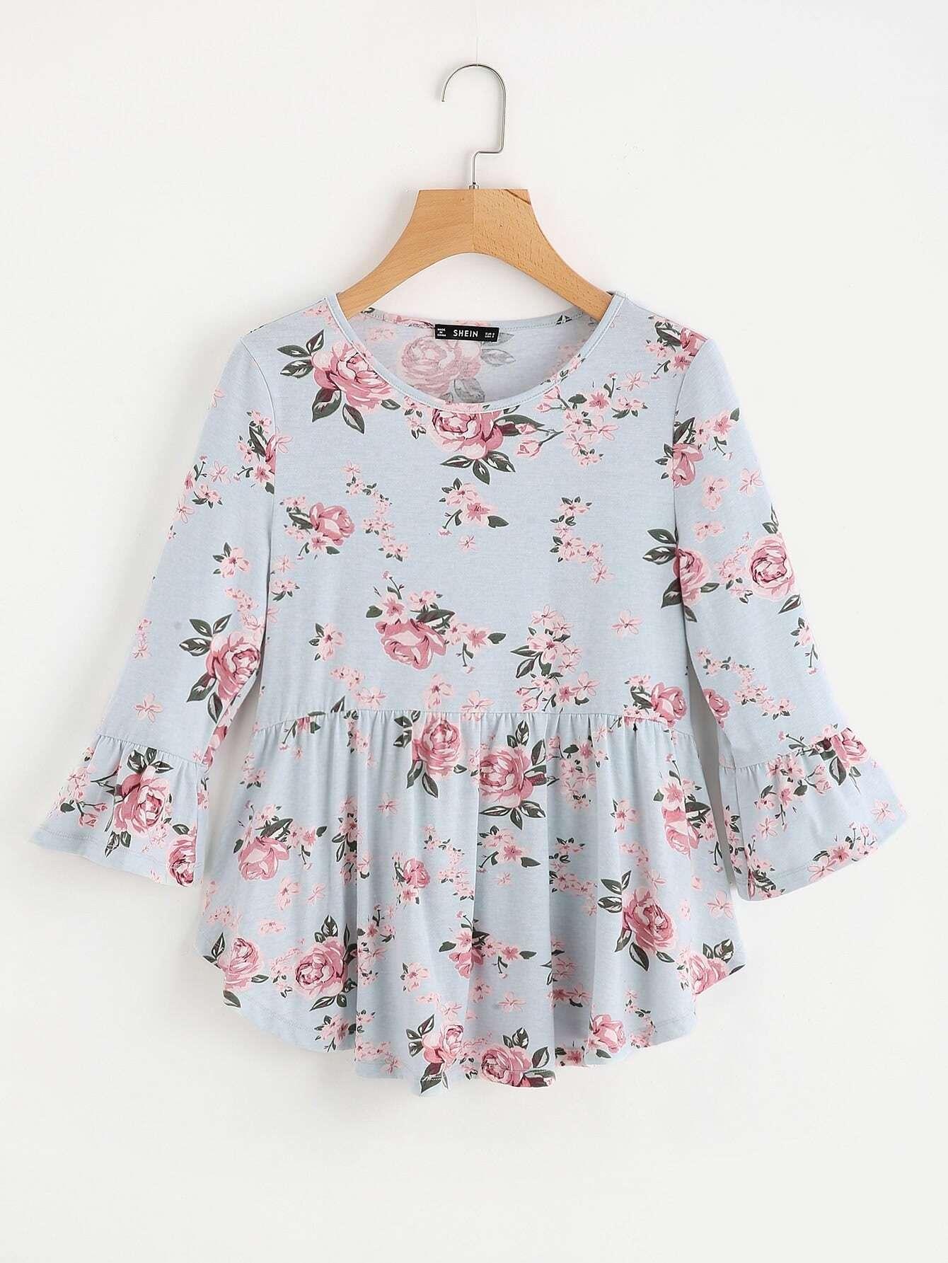 Купить Модный джемпер с цветочным принтом, null, SheIn
