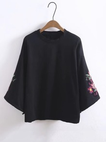 Embroidered Flower Wide Sleeve Sweatshirt