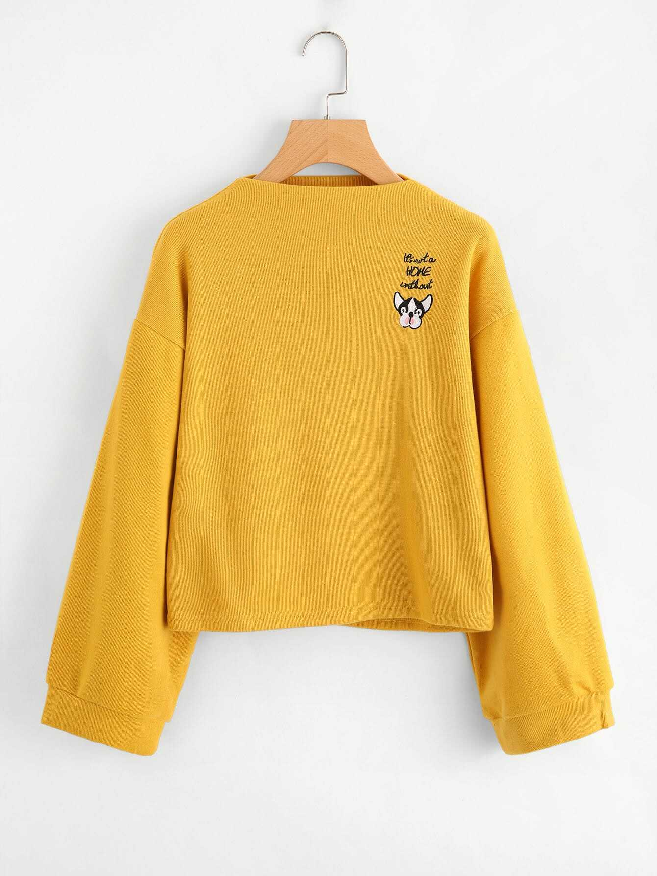Lantern Sleeve Embroidered Patch Sweatshirt