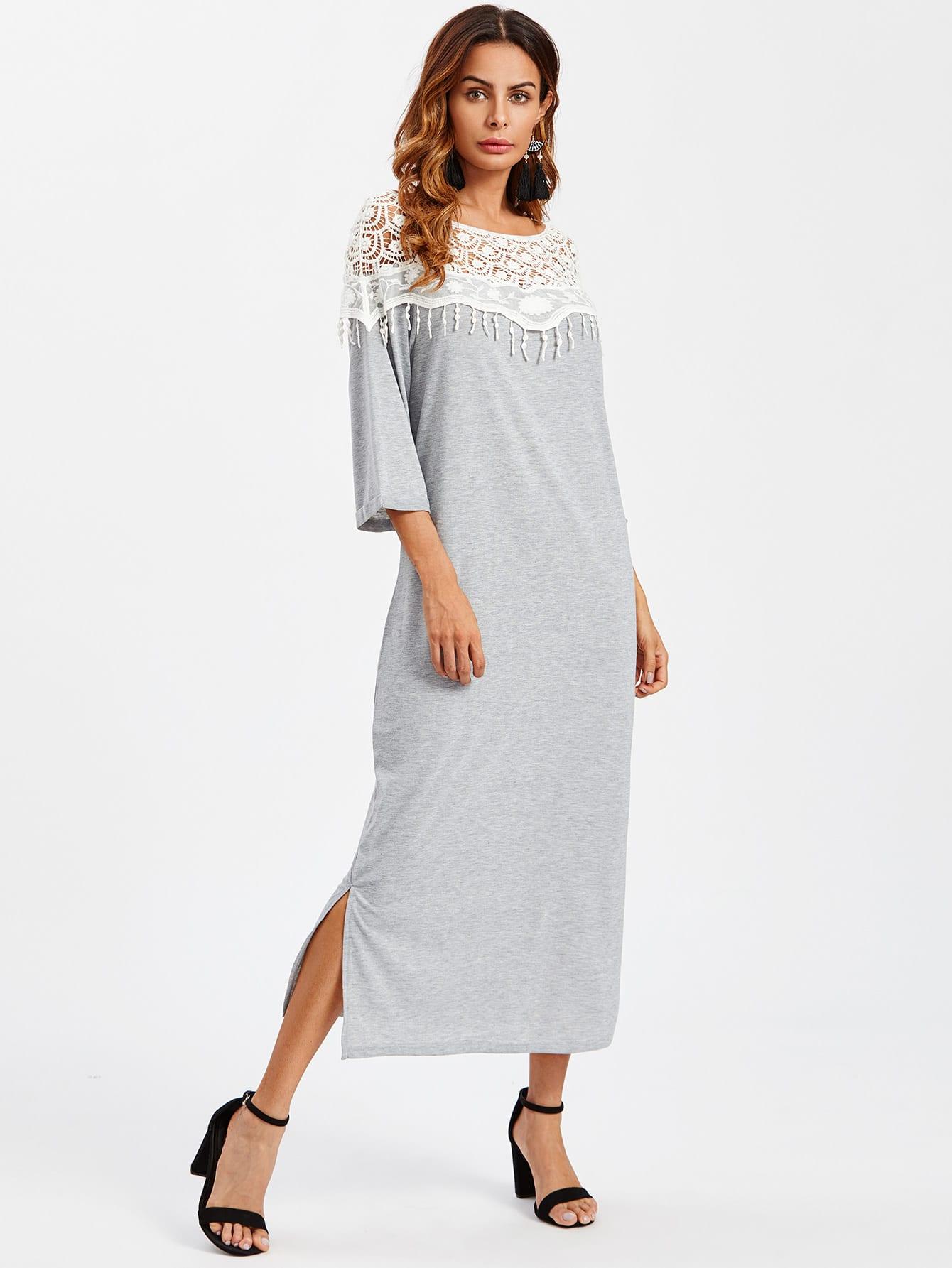 Lace Crochet Contrast Split Side Dress