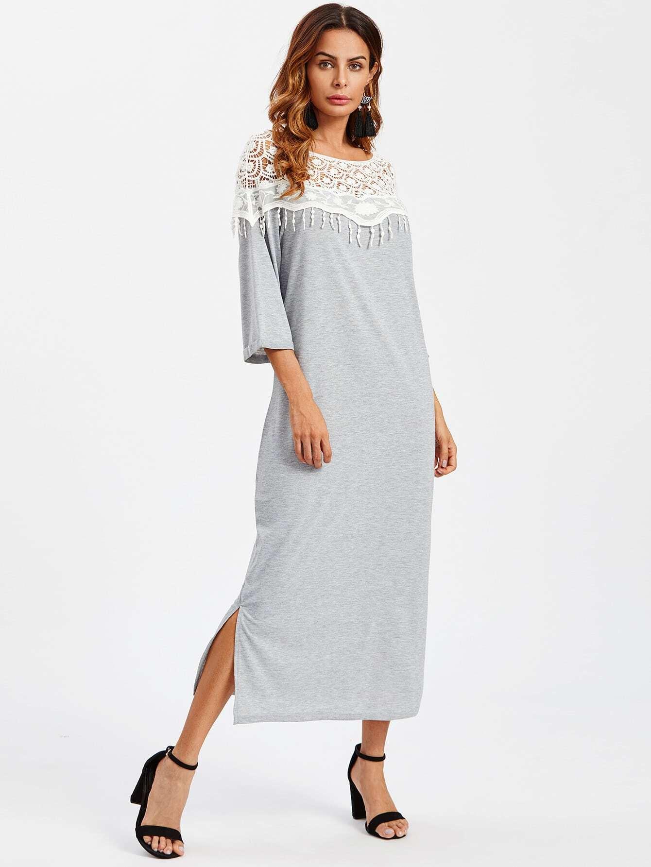 Lace Crochet Contrast Split Side Dress dress170920130