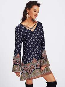 Ornate Print Criss Cross V-neckline Dress