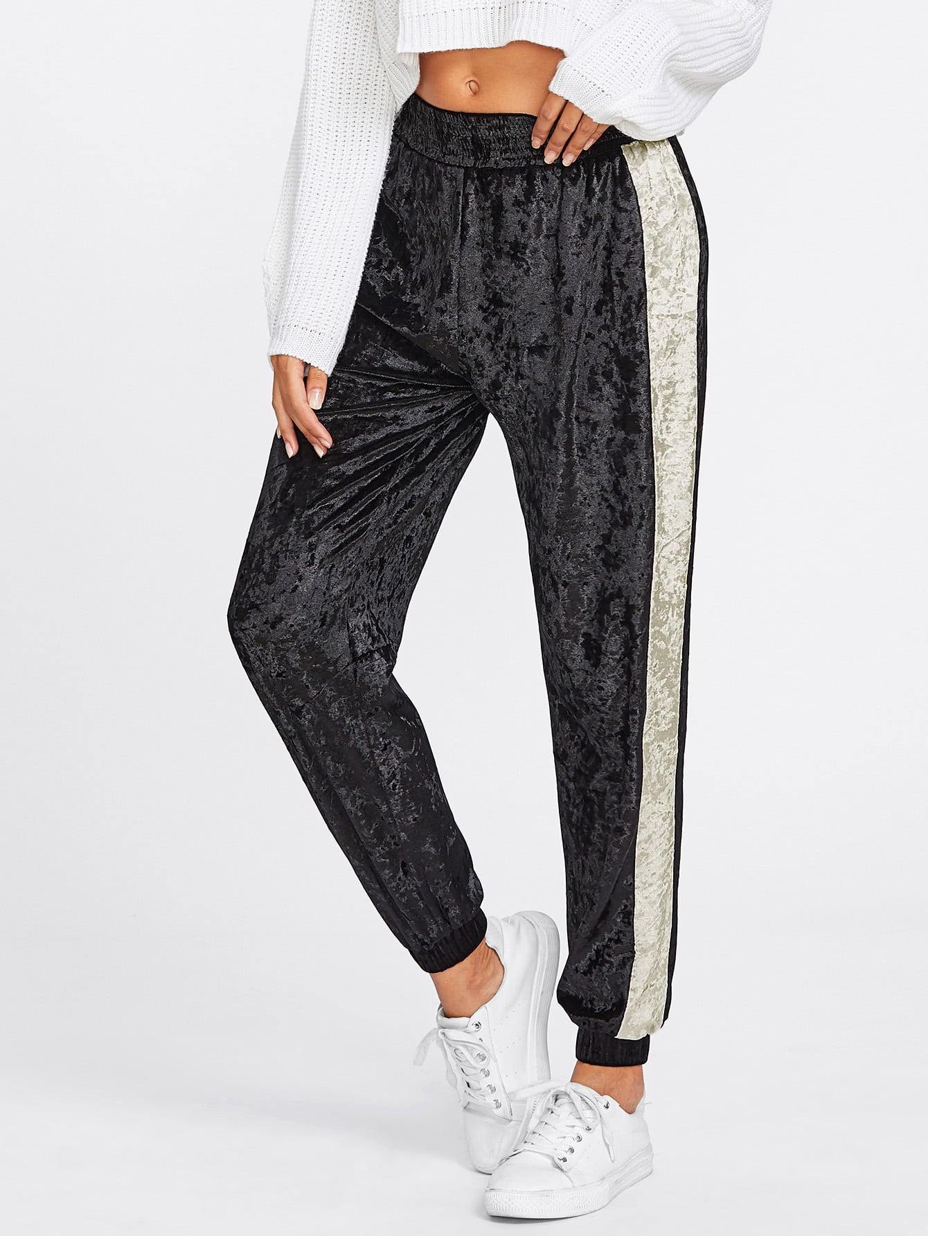 Image of Contrast Panel Side Crushed Velvet Sweatpants