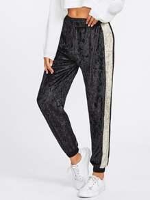 Contrast Panel Side Crushed Velvet Sweatpants