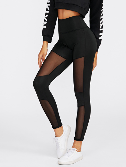 Gitter Leggings mit Stich