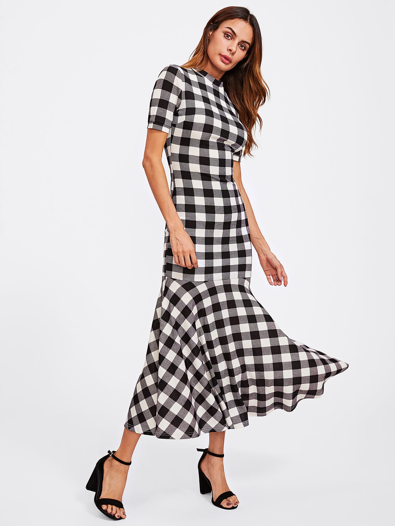 Mock Neck Checked Trumpet Dress trumpet sleeve checked smock dress