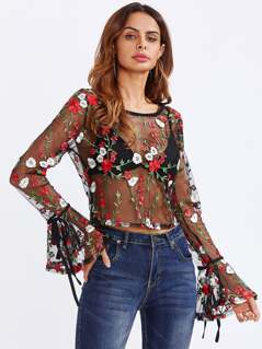 Tied Bell Cuff Botanical Embroidered Mesh Top