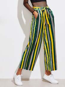 Self Tie Waist Striped Velvet Pants