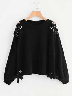 Grommet Lace Up Bishop Sleeve Jumper