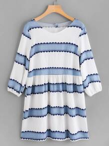 Contrast Wide Striped Babydoll Dress