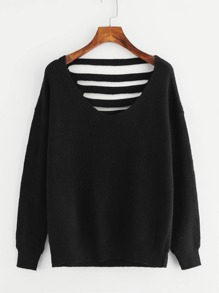 Laddering Back Solid Sweater