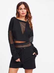Mesh Inset Crop Top With Drawstring Shorts